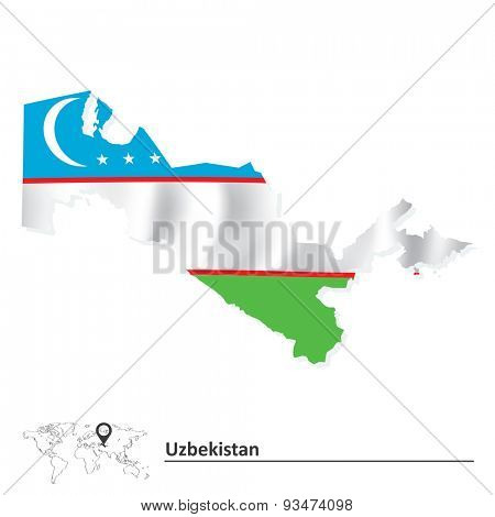 Map of Uzbekistan with flag - vector illustration