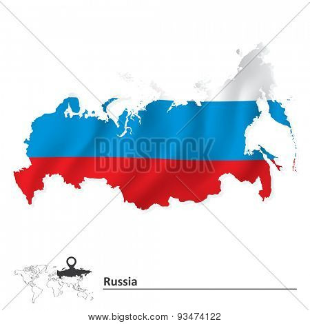Map of Russia with flag - vector illustration