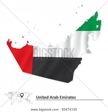 Map of United Arab Emirates with flag - vector illustration