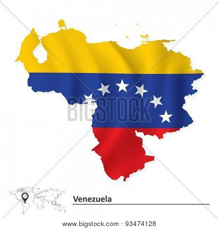Map of Venezuela with flag - vector illustration