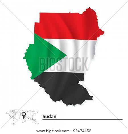 Map of Sudan with flag - vector illustration