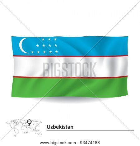 Flag of Uzbekistan - vector illustration