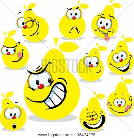 Pear Icon Cartoon With Funny Faces Isolated On White