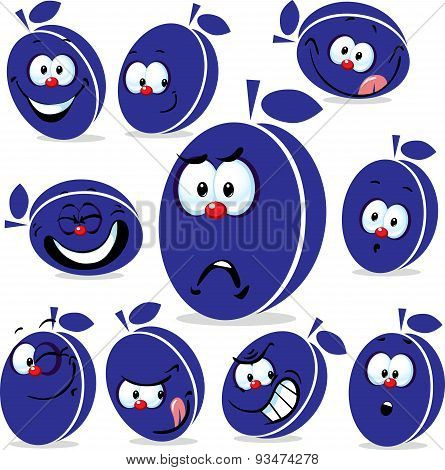 Plum Icon Cartoon With Funny Faces Isolated On White