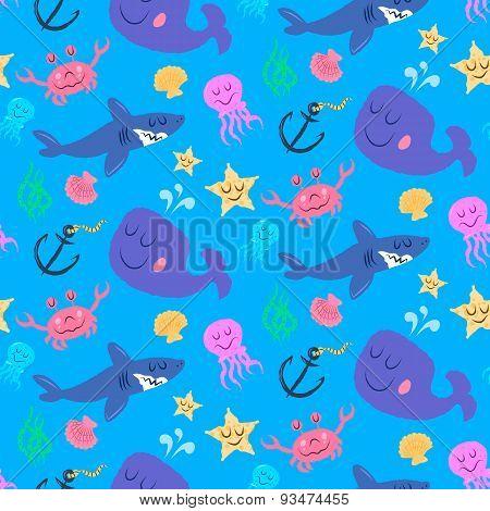 Seamless Pattern Of Cute Sea World Characters