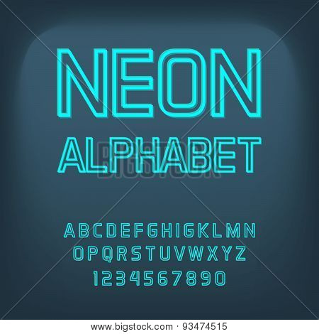 Neon font. Vector illustration.