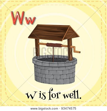 Flashcard of a letter W with a picture of a well