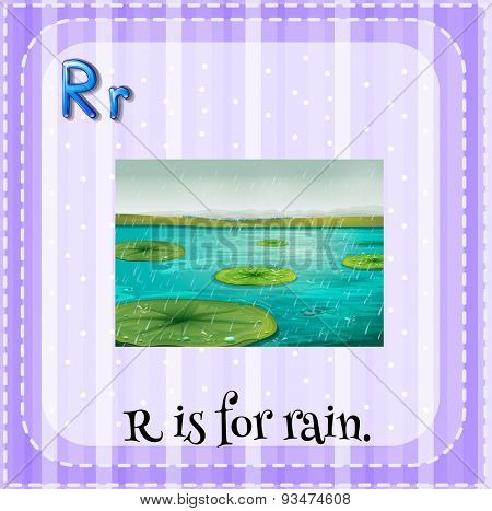 Flashcard of a letter R with picture of rain falling