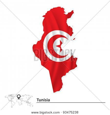 Map of Tunisia with flag - vector illustration