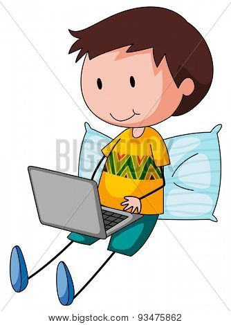 Poster of a boy sitting with a laptop