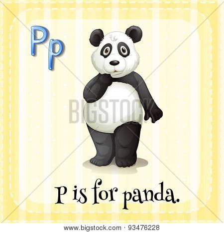 Flashcard letter P is for Panda