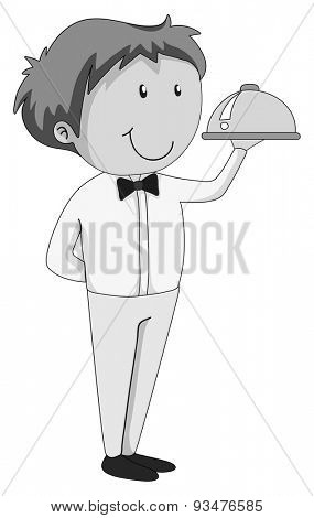 Close up waiter with a tray of food