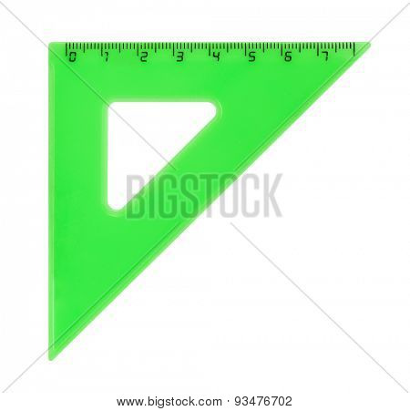 Triangle ruler isolated on white background