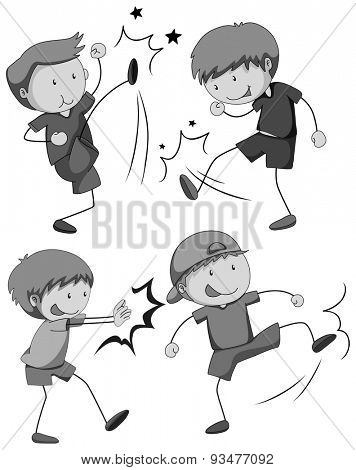 Boy in different positions of fighting