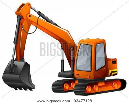 Closeup excavator with big shovel