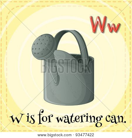 Flashcard letter W is for watering can
