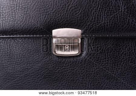 Black leather briefcase close-up