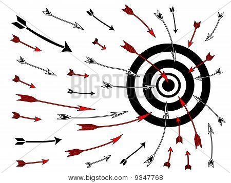 Pfeile fliegen in Bullseye