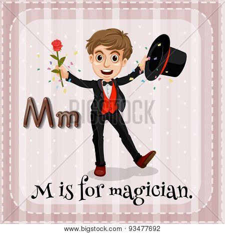 Flashcard letter M is for magician