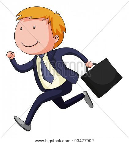 Businessman in blue suit carrying a briefcase