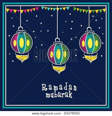 Creative colorful hanging lanterns with bunting decoration on stars decorated blue background, Elegant greeting card design for Islamic holy month, Ramadan Mubarak celebration.