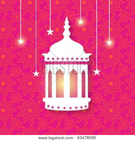 Creative illuminated Arabic lantern with shiny hanging stars on seamless floral pattern decorated background for Islamic holy month of prayers, Ramadan Kareem celebration.