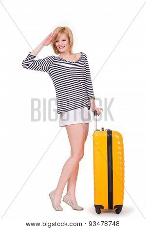 Young happy woman having smiling and holding travel case. Tourist with luggage. Girl, baggage. Isola