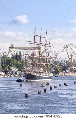 Sailing Ships Leaving The Port Of Szczecin.