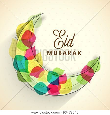 Muslim community festival, Eid Mubarak celebration with illustration of colorful creative leafs decorated crescent moon.