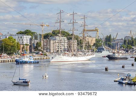 Sailing Ships Leaving Port Of Szczecin.