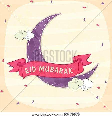 Beautiful greeting card with purple moon covered by pink Eid Mubarak ribbon for muslim community festival celebration.