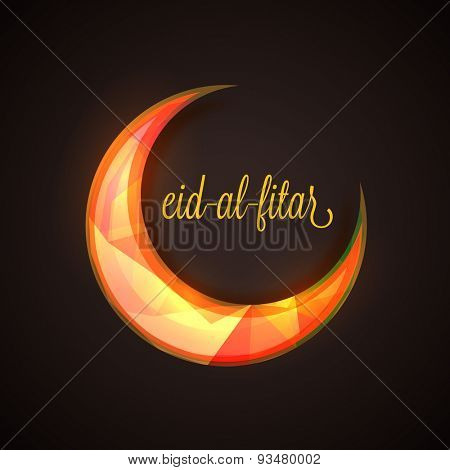 Shiny colorful creative crescent moon with text Eid-al-Fitar on brown background for muslim community festival, Eid Mubarak celebration.