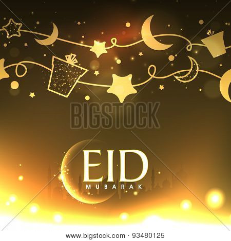 Elegant greeting card with gifts, moon and stars buinding by a rope on mosque silhouette background for muslim community festival, Eid Mubarak celebration.