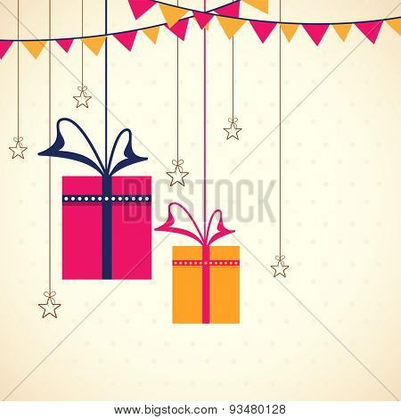 Greeting card design with colorful hanging gifts, stars and bunting for muslim community festival, Eid Mubarak or other festival celebration.