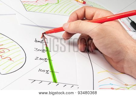 Man painting diagrams