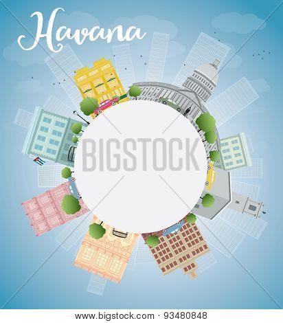Havana Skyline with Color Building, Blue Sky and copy space. Vector Illustration