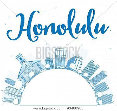 Outline Honolulu Hawaii skyline with blue buildings and copy space. Vector illustration