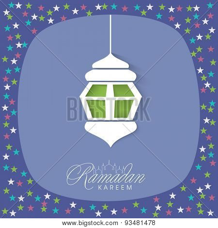 Beautiful greeting card design decorated with creative hanging lantern and colorful stars for Islamic holy month of prayers, Ramadan Kareem celebration.