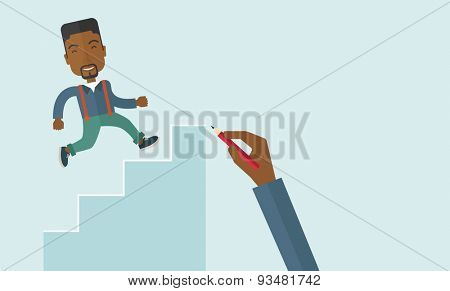 A hand with red pen drawn a black business man climbing up the stairs, a concept of success and career. A contemporary style with pastel palette soft blue tinted background. Vector flat design