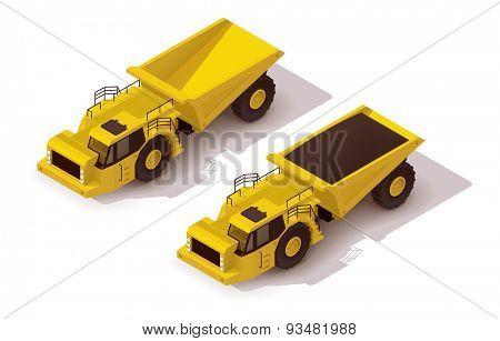 Isometric icon representing yellow underground dumper truck