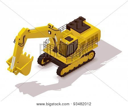 Isometric icon representing heavy yellow excavator