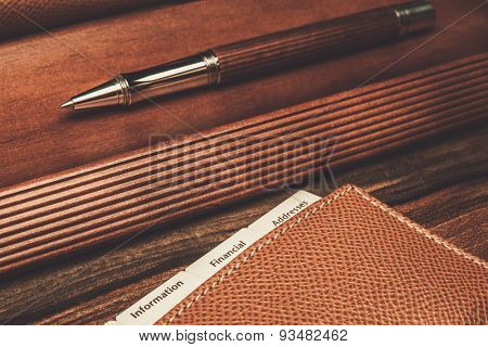 Luxurious rollerball pen and desk pad