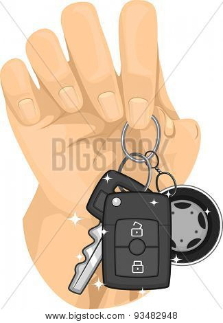 Cropped Illustration of a Hand Holding a Car Key Chained Together with a Remote Control