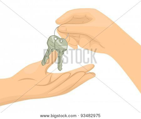 Cropped Illustration of a Person Handing Over a Pair of Keys to Another