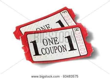 Admission coupon or ticket isolated on white