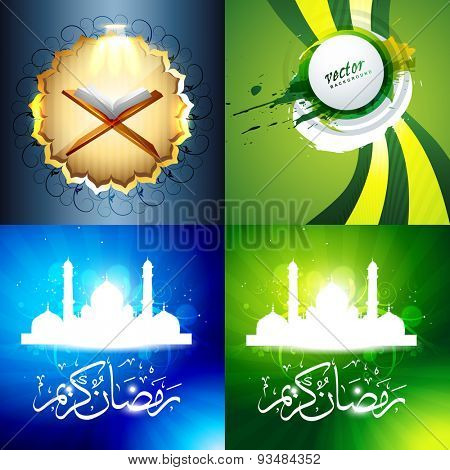vector set of attractive background of ramadan kareem festival with quaran sharif and mosque illustration