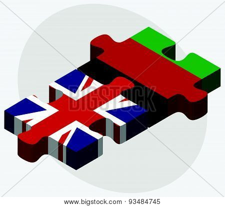 United Kingdom And Afghanistan Flags In Puzzle