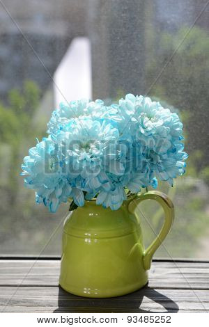 Beautiful flowers in pitcher on windowsill