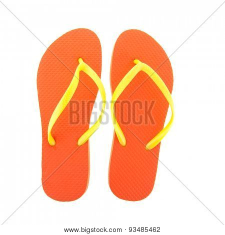 Orange flipflops for the summer isolated over white background