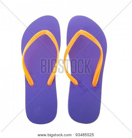 purple flipflops for the summer isolated over white background